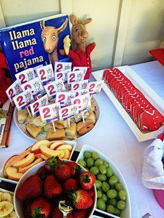 Llama Llama Red Pajama Party. Love this food table setup for a Llama Llama birthday party!