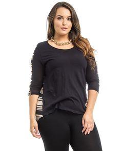 Hot Ginger Black Ivory Striped Scoop Neck 3 4 Sleeve Hi Lo Hem Top Size 1XL 3XL | eBay