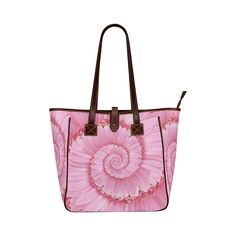 Pink Gerbera Flower Spiral Droste Classic Tote Bag (Model 1644) Psychedelic Rainbow Spiral Shoulder Tote Bag (Model 1646) by KittyBitty with Free Shipping!