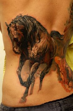 Watercolor ravens and running horse... | Tattoo.com