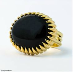 Onyx 20k Prong Ring by Savannah King
