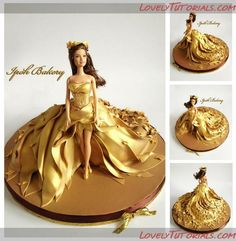 """""""Autumn Gold""""Doll Cake - Air-brushed with edible gold colour with 24 carat edible gold Seasons Doll Cake Series! Barbie Torte, Bolo Barbie, Doll Birthday Cake, Wedding Dress Cake, Novelty Cakes, Cake Decorating Tutorials, Cute Cakes, Creative Cakes, Cake Art"""