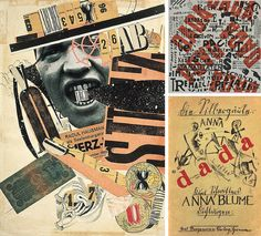 Dada: experiments with typography & layout & white space, no rules & no order, photomontage with images, tickets, newspapers & other printed material, a combination of a variety of images & text