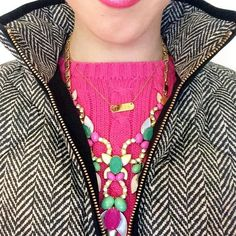 It's such a beautiful day outside, which naturally calls for a pretty pink sweater and matching lip color, my favorite herringbone vest, and stunning layers of @stelladot necklaces!