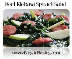 Spice up your regular salad routine with this Beef Kielbasa Spinach Salad recipe!