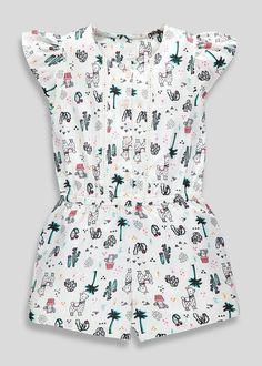 8ace09361f84 Girls Llama Print Playsuit (9mths-6yrs) – White – Matalan Little Baby Girl