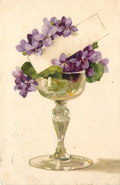 invitation - purple violet with name tag - copa de vino de violetas púrpuras