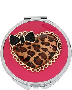 LEOPARD HEART COMPACT: A lovable addition to any purse.