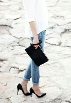 blue jeans + black pumps + white button down shirt http://www. the-black-friday.com