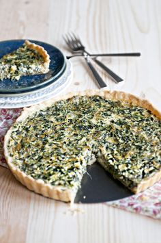 Simple spinach quiche with parmesan cheese