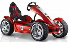 The Ferrari FXX Racers pedal Go-Kart is inspired by the car bearing the same name, with only 29 cars produced for use on the race track. The Go-kart sports Super Slick X-treme tyres with a diameter of 43 cm, offering a superb grip even in corners. Karting, Diy Go Kart, Ferrari Fxx, Miniature Cars, Sport Seats, Pedal Cars, Mini Bike, Kit Cars, Electric Cars