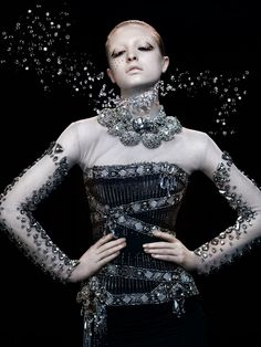 Glamorous Liaison Swarovski Elements Promotion for German Vogue | Corsage By Hubert Barrere | Opulent Necklaces By Philippe Ferrandis | SHOWPIECE By Andy Farrow | ALL facets include SWAROVSKI ELEMENTS!!