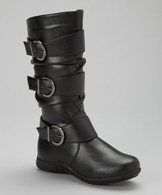 Look at this #zulilyfind! Black Triple Buckle Boot by Josmo #zulilyfinds
