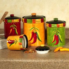 red canisters with pepper designs | Caliente Southwest Canister Set Multi Warm Set of Four