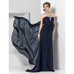 TS+Couture®+Formal+Evening+/+Military+Ball+Dress+-+Beautiful+Back+Plus+Size+/+Petite+Sheath+/+Column+Halter+Sweep+/+Brush+Train+/+Watte…