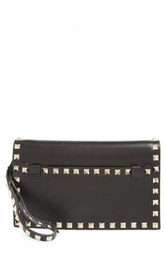 Valentino+'Small+Rockstud'+Leather+Flap+Clutch+available+at+#Nordstrom