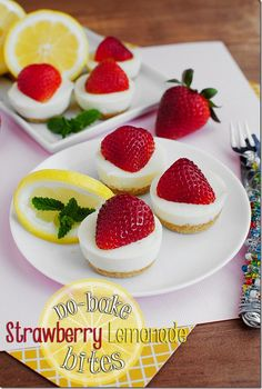 No-Bake Strawberry Lemonade Bites are tart, sweet, and perfectly poppable! These little tart bites store in the refrigerator; fun party fare or maybe even the perfect little summer 'heat' busters