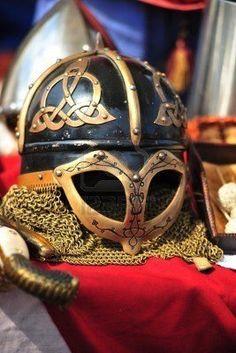 Ancient helmet of Vikings with the Celtic ornament stock photography Viking Armor, Viking Helmet, Ancient Vikings, Norse Vikings, Escudo Viking, Larp, Types Of Armor, Empire Romain, Viking Culture