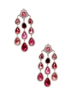 Diamond & Pink Tourmaline Teardrop Earrings by Parulina at Gilt