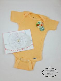 Vintage Inspired Pearl Fabric Flowers Onesie