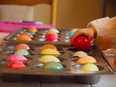 Muffin tin as Easter Egg dye container..Genius