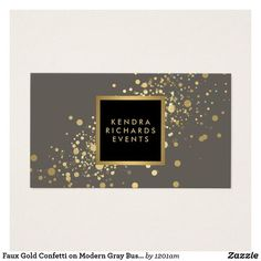 Faux Gold Confetti on Modern Grey Business Card
