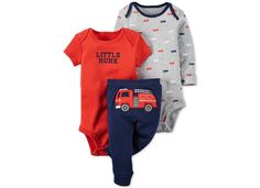 Carter\'s Baby Boys\' 3-Pc. Fire Engine Bodysuits & Pants Set - Sets & Outfits - Kids & Baby - Macy\'s