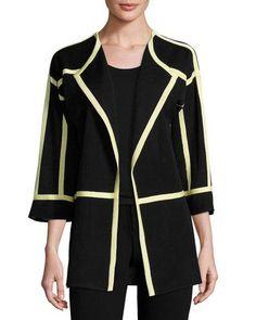 Contrast-Trim Knit Jacket, Black/Sorbet