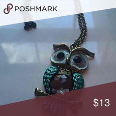 NWOT owl necklace Owl necklace. NWOT. Blue turquoise grey and gold Jewelry Necklaces