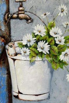 collection of images Art Floral, Tole Painting, Painting & Drawing, Daisy Painting, Pictures To Paint, Art Pictures, Paint And Sip, Acrylic Art, Painting Inspiration
