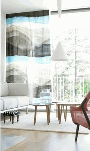 MARIMEKKO sheer curtain - maybe a single lined curtain with a big image for the big study downstairs - or something similar as a smaller version in the small study as a blind