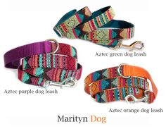 Aztec dog leash Navajo Native American Tribal Mexican colorful geometric fabric cute pet leash Small dog large dog collar is available by MaritynDog on Etsy