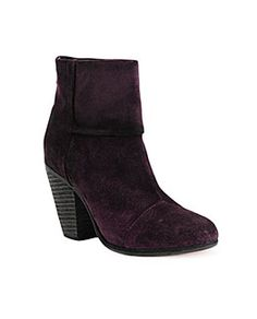 Totally loving the purples and magentas and wines of this winter ... these suede boots from Rag & Bone look amazing with black and winter white