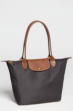 Longchamp 'Small Le Pliage' Shoulder Bag (Gunmetal)