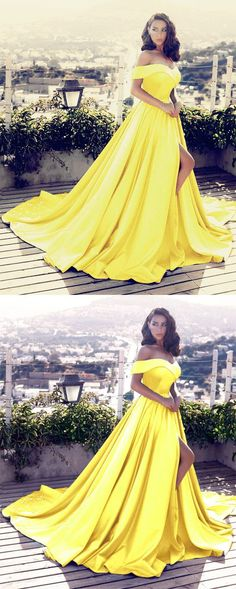 Elegant V-neck Off The Shoulder Long Satin Front Slit Evening Dress 2018 Yellow Prom Dresses M2820
