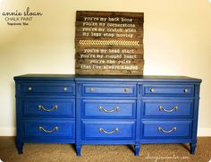 dresser painted with Annie Sloan Chalk Paint Napoleonic Blue
