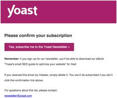 Thanks! Wait for the confirmation email. • Yoast