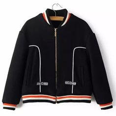 Stylish Stand-Up Collar Long Sleeve Color Block Zip Up Women's Jacket