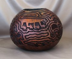 Mountain Cats and Shy Sheep Gourd Bowl (1004). $180.00, via Etsy.
