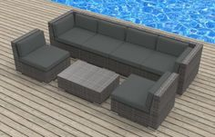 Outdoor Sectional Sofa For Sale 7-Piece Charcoal, UrbanFurnishing