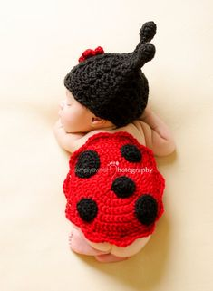 Zonegear Baby Photo Prop Outfit Newborn Knit Crochet Photopraphy Ladybug Clothes Flower *** Check this awesome product by going to the link at the image. Crochet Baby Sweaters, Crochet Baby Clothes, Baby Knitting, Crochet Baby Outfits, Crochet Baby Costumes, Crochet Baby Props, Baby Girl Crochet, Crochet For Boys, Crochet Bolero