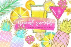 Tropical Clip Art, Watercolor Summer Clipart, Pineapple Summer Clipart, Beach Clipart, Lemon Clipart, Pineapple Clipart, signature drink Commercial liscence included