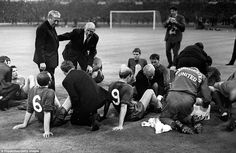 Ten years after he survived the Munich Air Disaster, Matt Busby led Manchester United to the 1968 European Cup final. It was one of the most emotional nights in United's history. Bobby Charlton had put United in front but Jaime Graca equalised for the Portuguese giants. Here Busby and assistant Jimmy Murphy attempt to galvanise the United players before extra-time