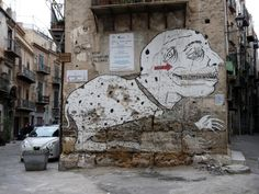 This #graffiti of a weird #animal and #man at the same time I found in a different setting elsewhere in #Palermo, #Sicily.