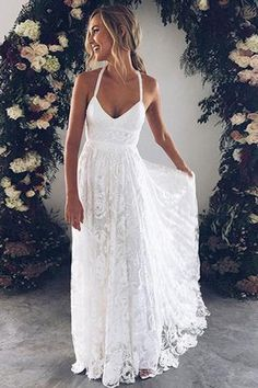 White Lace V Neck Floor Length Long Prom Dress, Evening Dress, M181