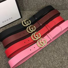 d49921b41dd Gucci Leather belt with pearl Double G 453260