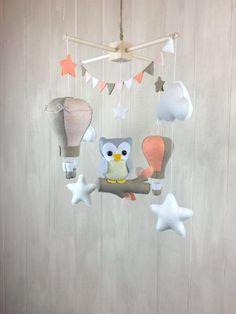 Baby mobile - Owl mobile - nursery hanging decor - Owls, clouds and stars - hot…