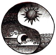 deze jing en jang wil ik gaan maken en dan met een zon en een volle maan en dan met inkt de ene kant en de andere kant wit en hem dan arceren