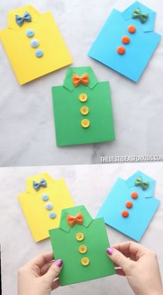 FATHER'S DAY SHIRT CARD - such an easy Father's dat craft for kids! A great diy father's day card! Preschool and kindergarten kids will love to make it too! perfect fathers day gift, ideas for fathers day crafts, fathers birthday gifts ideas Kids Crafts, Kids Fathers Day Crafts, Diy Crafts Videos, Preschool Crafts, Craft Projects, Gifts For Fathers Day, Father's Day Gifts, Fathers Day Cards Handmade, Happy Fathers Day Cards