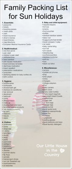 Family Packing list and tips - packing for a sun holiday